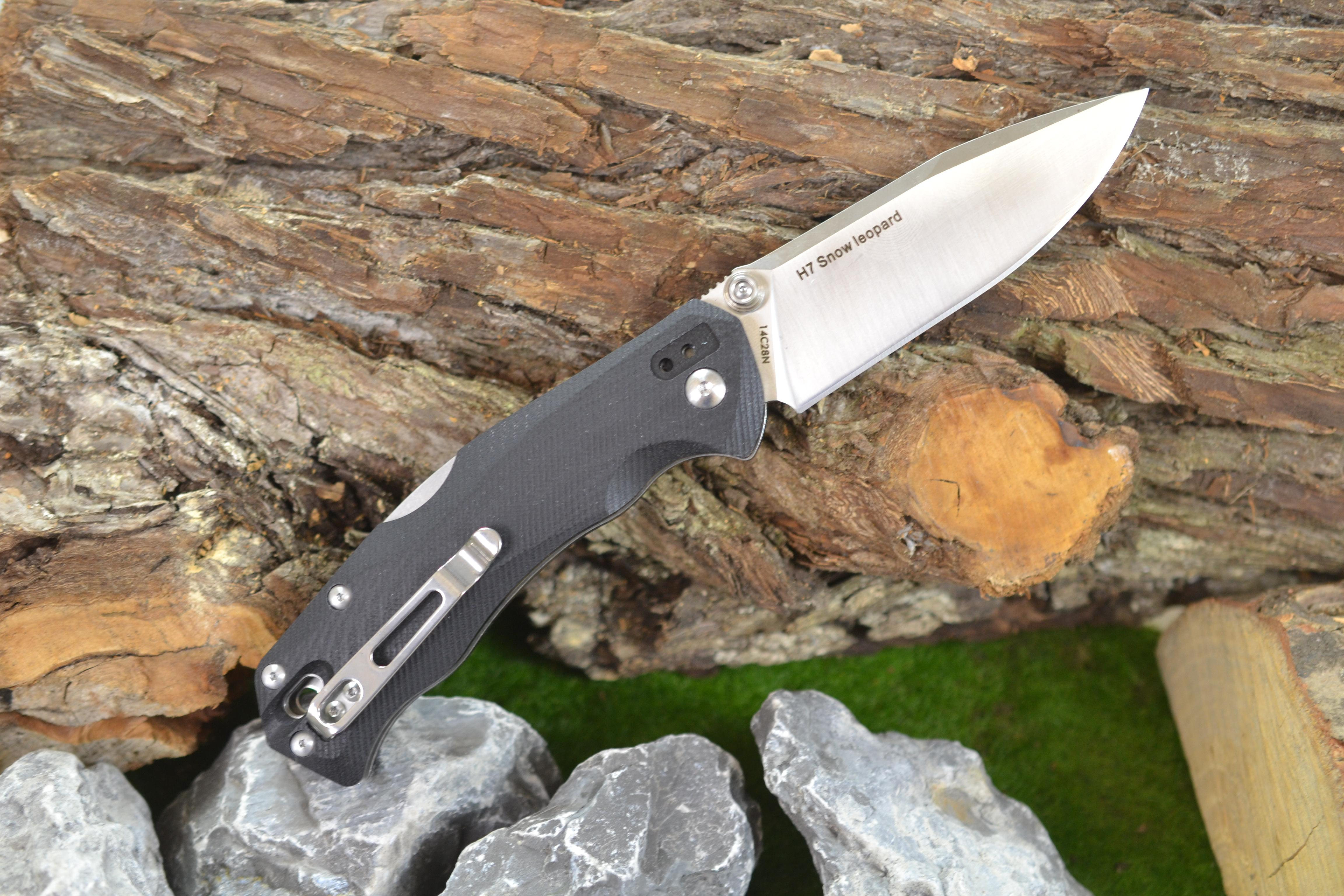 real steel h7 snow leopard einhandmesser mit clip 14c28n stahl black ebay. Black Bedroom Furniture Sets. Home Design Ideas